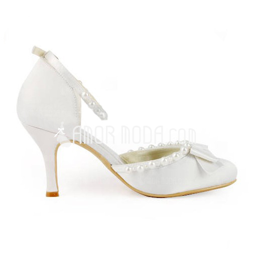 Frauen Satiniert Stöckel Absatz Geschlossene Zehe Absatzschuhe mit Flakem Schnalle Synthetischen Perlen (047005527)