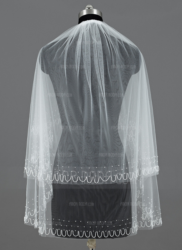 Zweischichtig Ellenbogen Braut Schleier mit Schnittkante (006035478)