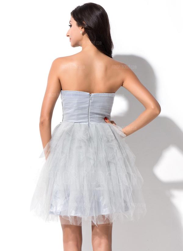 A-Linie/Princess-Linie Herzausschnitt Kurz/Mini Tüll Ballkleid mit Perlen verziert Applikationen Spitze Gestufte Rüschen (022025385)