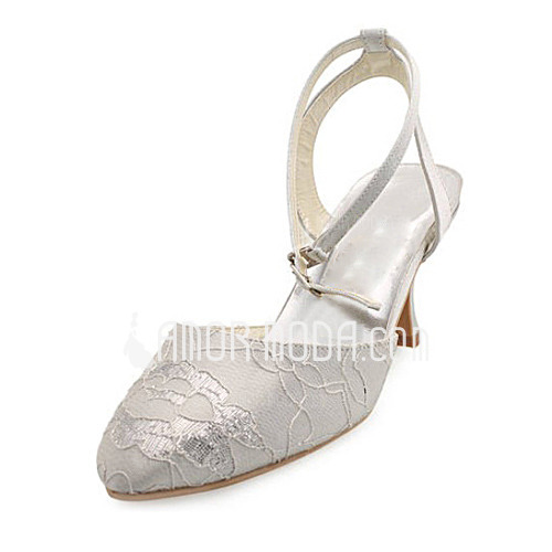 Vrouwen Satijn Spool Hak Closed Toe Pumps Slingbacks met Stitching Lace (047010766)