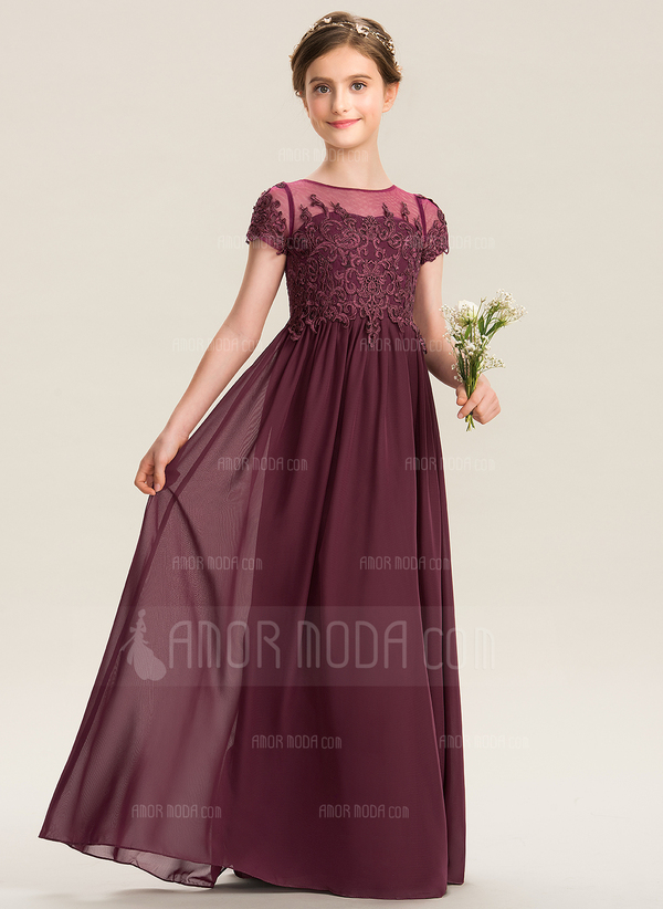 A-Linie U-Ausschnitt Bodenlang Chiffon Spitze Kleid für junge Brautjungfern (009173300)