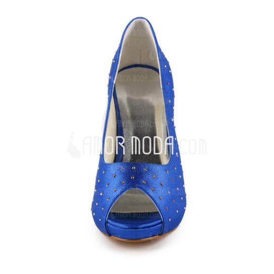 Frauen Satiniert Kegel Absatz Peep Toe Plateauschuh Sandalen mit Straß (047011057)