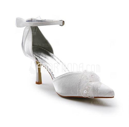 Vrouwen Satijn Stiletto Heel Closed Toe met Ribbon Tie Stitching Lace (047005511)