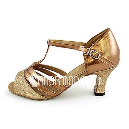 Frauen Funkelnde Glitzer Lackleder Heels Sandalen Latin mit T-Riemen Tanzschuhe (053013253)