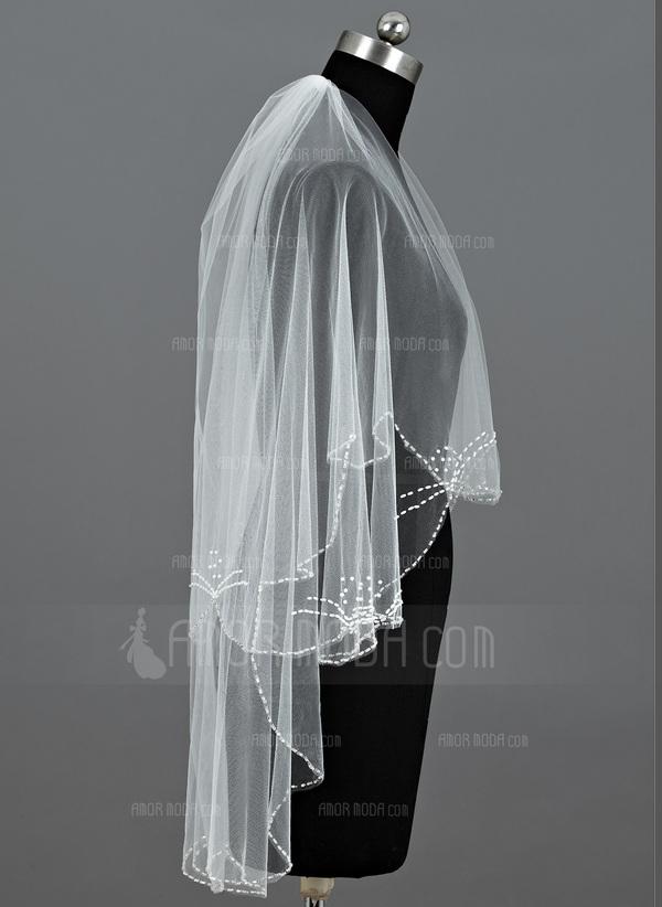 Zweischichtig Ellenbogen Braut Schleier mit Perlenbesetzter Saum (006035438)