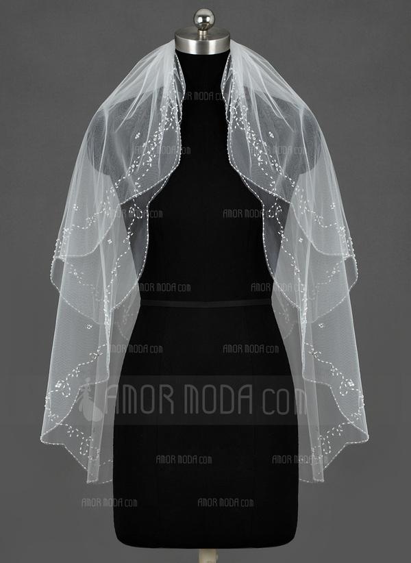 Zweischichtig Fingerspitze Braut Schleier mit Perlenbesetzter Saum (006035430)