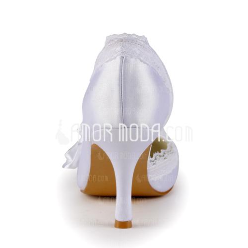 Kvinnor Satäng STILETTKLACK Stängt Toe Pumps med Strass Satäng Blomma Stitching Lace (047005347)