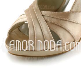 Kvinnor Satäng Cone Heel Peep Toe Plattformen Sandaler (047005396)