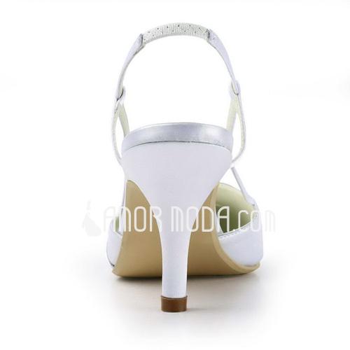 Vrouwen Satijn Stiletto Heel Closed Toe Pumps Slingbacks met Bergkristal (047011851)
