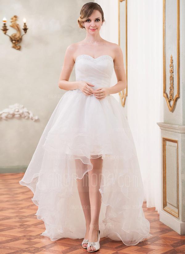 A-Linie/Princess-Linie Schatz Asymmetrisch Organza Brautkleid mit Rüschen Perlstickerei Pailletten (002031874)