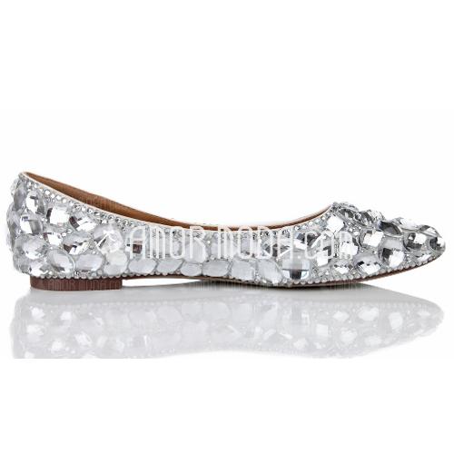 Frauen Echtleder Flascher Absatz Geschlossene Zehe Flache Schuhe mit Strass (047040899)