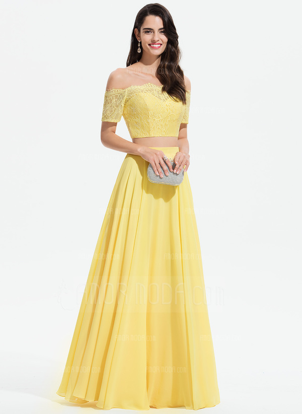 A-Linie Off-the-Schulter Bodenlang Chiffon Abiballkleid mit Spitze (018175906)
