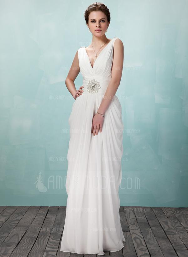Etui-Linie V-Ausschnitt Bodenlang Chiffon Abendkleid mit Rüschen Perlen verziert (017018949)