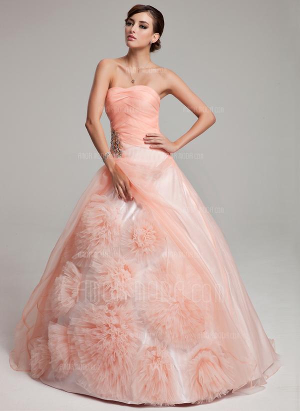 Duchesse-Linie Trägerlos Bodenlang Organza Quinceañera Kleid (Kleid für die Geburtstagsfeier) mit Perlen verziert Blumen Gestufte Rüschen (021017549)