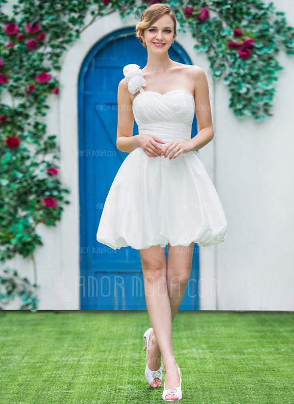 ... Kurz/Mini Taft Brautkleid mit Rüschen Blumen (002051517) - AmorModa