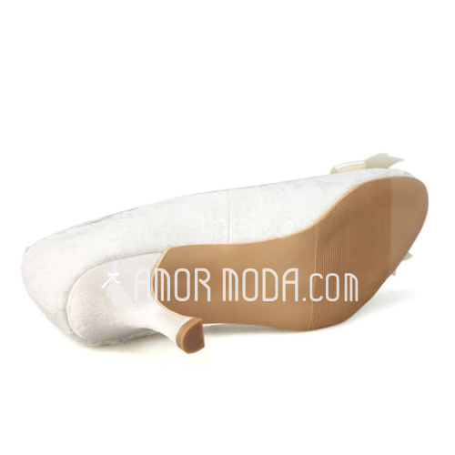 Vrouwen Kant Spool Hak Closed Toe Pumps met Imitatie Parel (047011820)