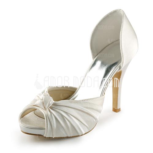 Kvinnor Satäng Cone Heel Peep Toe Plattformen Sandaler med Rosettknut (047005429)