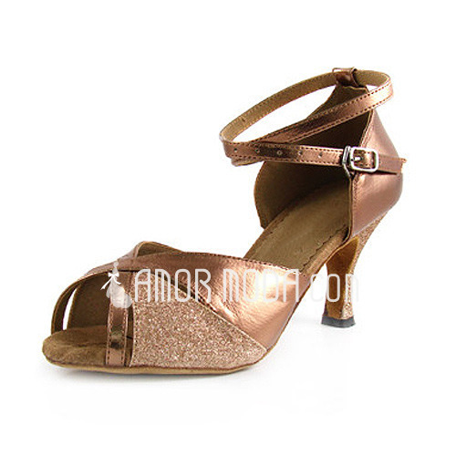 Vrouwen Imitatieleer Sprankelende Glitter Hakken sandalen Latijn met Enkelriempje Dansschoenen (053013027)