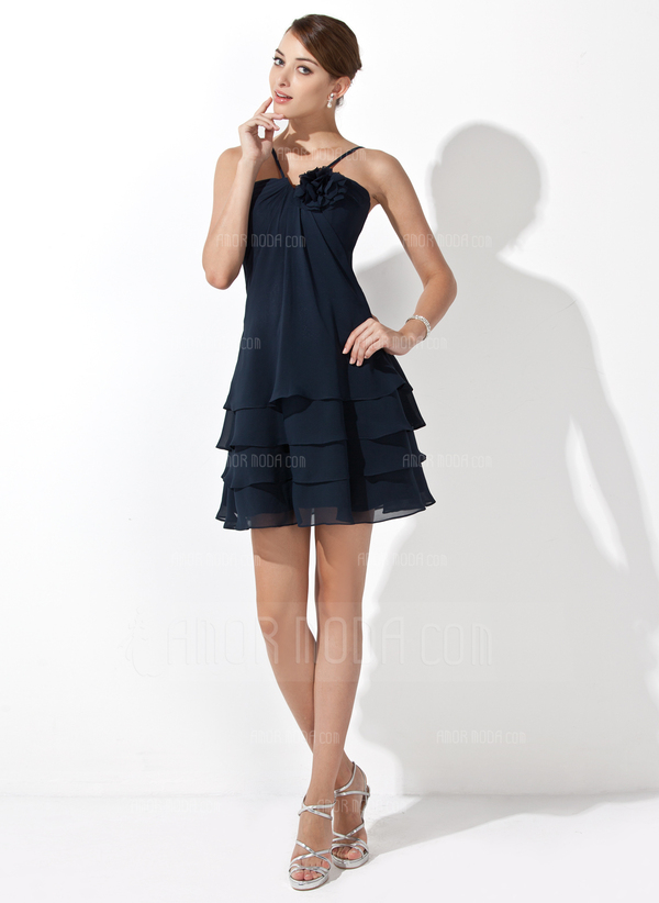 A-Line/Princess V-neck Short/Mini Chiffon Bridesmaid Dress With Flower(s) (007000915)