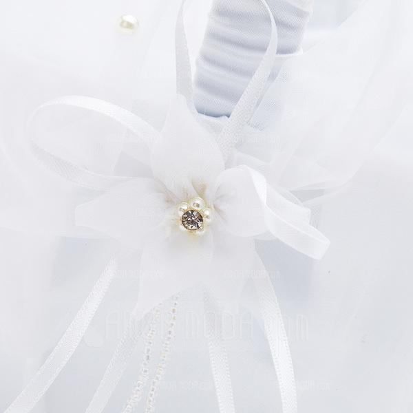 Klassisch Blumenkorb in Satin mit Faux-Perlen (102018103)