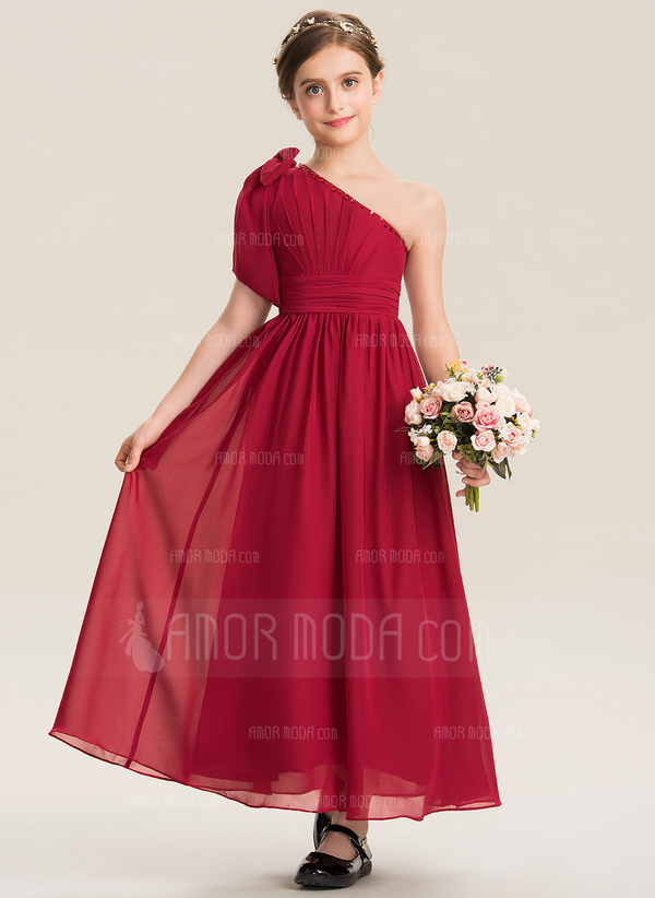 A-Line One-Shoulder Ankle-Length Chiffon Junior Bridesmaid Dress With Ruffle Beading Sequins Bow(s) (009173315)