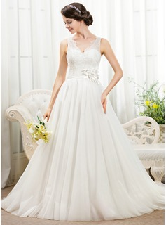 Ball-Gown V-neck Chapel Train Tulle Lace Wedding Dress With Beading Flower(s) Sequins (002055918)