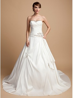 Ball-Gown Sweetheart Cathedral Train Taffeta Wedding Dress With Ruffle Lace Beading (002014720)