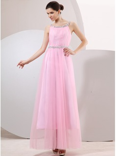 Robe de Bal de Promo Ligne-A/Princesse Col rond Longueur cheville Tulle Robe de Bal de Promo avec Ondul Dentelle Brod (018014065)