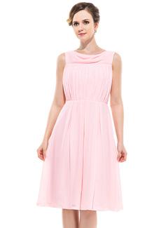 A-Linie/Princess-Linie Cowl Neck Knielang Chiffon Brautjungfernkleid mit Rüschen (007050349)