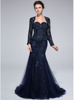 Trumpet/Mermaid Sweetheart Sweep Train Tulle Lace Evening Dress With Beading Flower(s) (017025320)