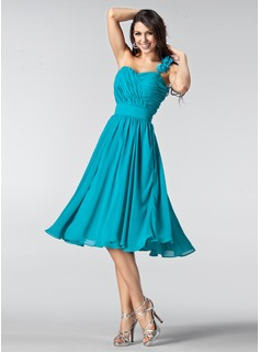 A-Line/Princess One-Shoulder Knee-Length Chiffon Bridesmaid Dress With Ruffle Flower(s) (007005218)
