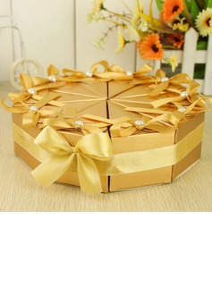 Pyramid Favor Boxes With Ribbons/Pearl (Set of 10) (050031691)