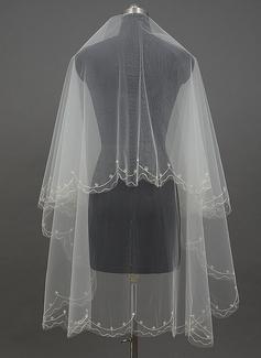 Einschichtig Schnittkante Walzer Braut Schleier mit Faux-Perlen (006034413)