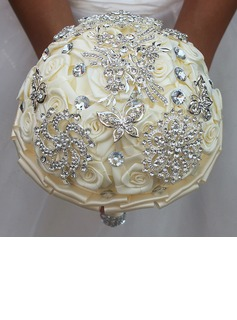 Rund Satin/Strass Brautsträuße (Sold in a single piece) - (123182220)