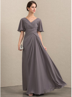 A-Line V-neck Floor-Length Chiffon Evening Dress With Ruffle (017192562)