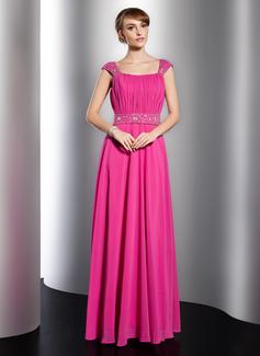 A-Linie/Princess-Linie U-Ausschnitt Bodenlang Chiffon Festliche Kleid mit Rüschen Perlen verziert (020014751)