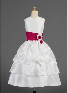 A-Line/Princess Tea-length Flower Girl Dress - Taffeta Sleeveless Scoop Neck With Ruffles/Sash/Flower(s)/Pick Up Skirt (010014623)