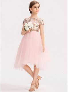 A-Line Scoop Neck Asymmetrical Tulle Junior Bridesmaid Dress With Sequins (009191695)