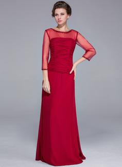 Etui-Linie U-Ausschnitt Bodenlang Chiffon Kleid für die Brautmutter mit Perlen verziert Pailletten (008025700)