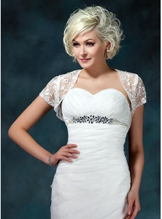 Short Sleeve Lace Wedding Wrap (013022599)