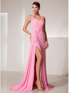 A-Line/Princess Halter Sweep Train Chiffon Prom Dress With Ruffle Beading Flower(s) Split Front (018014469)