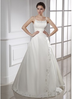 A-Line/Princess Sweetheart Floor-Length Satin Wedding Dress With Ruffle Beading (002015469)