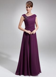 A-Linie/Princess-Linie Off-the-Schulter Bodenlang Chiffon Kleid für die Brautmutter mit Rüschen Perlstickerei (008006218)