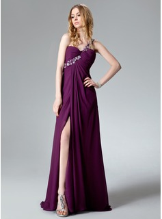 Empire One-Shoulder Sweep Train Chiffon Evening Dress With Ruffle Lace Beading Sequins Split Front (017004368)