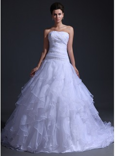 Ball-Gown Sweetheart Cathedral Train Organza Wedding Dress With Lace Cascading Ruffles (002017347)