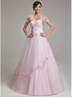 Ball-Gown Sweetheart Floor-Length Satin Tulle Quinceanera Dress With Ruffle Lace Beading (021003140)