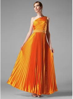 A-Line/Princess One-Shoulder Floor-Length Charmeuse Evening Dress With Beading Pleated (017002614)