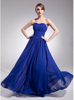 Cheap Evening Dresses A-Line/Princess Sweetheart Floor-Length Chiffon Evening Dress With Ruffle (017014561)
