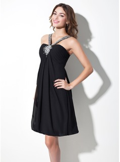 Empire V-neck Knee-Length Chiffon Homecoming Dress With Ruffle Beading (022009432)