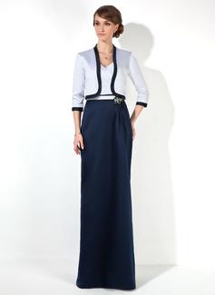 Etui-Linie Herzausschnitt Bodenlang Satin Kleid für die Brautmutter mit Rüschen Perlen verziert Applikationen Spitze (008006105)